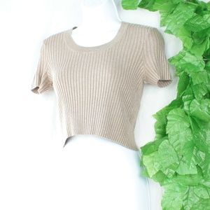 Taupe Knitted Ribbed Crop Top Tshirt Med